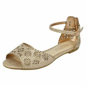 Ladies Spot On Floral Design Vamp 'Sandals'
