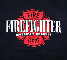 FIREFIGHTER / AMERICA'S BRAVEST / FIRE DEPT. / MADE IN USA BLACK T-SHIRT SIZE L