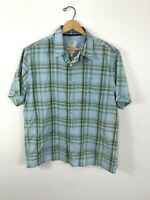 Fat Face Short Sleeve Button Camp Shirt Mens Size Large Blue Green Plaid