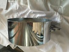 """Exhaust 6"""" butt joint clamp with straight bracket Chrome  For stacks"""