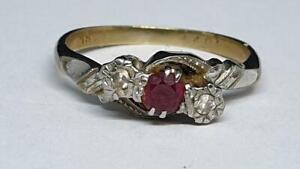 Vintage Yellow - White 18ct Ruby & Diamond Three Stone Cluster Ring Size J 2.44g