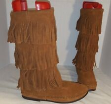 NEW MINNETONKA BROWN SUEDE CALF HIGH 3 LAYER FRINGE BOOTS WOMEN'S SIZE 8