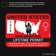 Red United States ISIS Hunting Permit Sticker Decal adhesive Vinyl terrorist