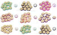 12 PCs Round Candy Color Scrapbooking Hand Crafted Sewing 2 Holes Buttons Indian