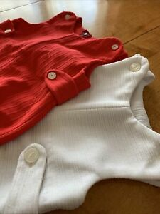 2 Vintage 1960s 1970s Polyester Boys Jumpers, Red White Button Zipper EB1