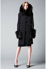 DSQUARED2 Black Fox Fur Collar Embroidered Wool Coat Jacket 42 IT / 4 US $5260