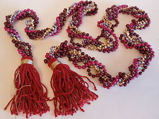 Maroon Burgundy Purple Gold Multi Bead Tasseled Fringe Christmas Garland Faceted