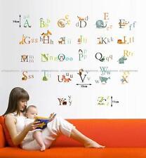 26 A-Z Alphabet Letters Animal Owl Monkey Lion Wall Stickers Decals Kids Nursery