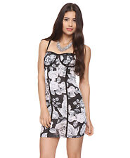Forever 21 Floral corset bodycon flower dress gray white black Size L