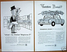 Bell Telephone System 2 Vintage 1954 Ads With Cartoon Art