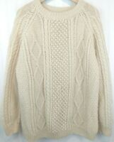 Vintage Cream Chunky Cable Knit Sweater Irish Fisherman Handknit Mens L Flaws