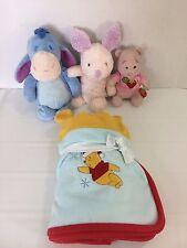 Lot Winnie the Pooh Disney Blanket/Hat Set Eeyore Tail Off Plush Piglet