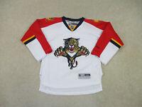 Reebok Florida Panthers Jersey Youth Medium White Red Hockey NHL SEWN Boys A22*