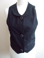 Women's Black Collared  Waistcoat Vest  Size 10/12