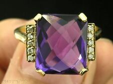 C1228- STRIKING 9ct Solid GOLD Natural Purple Amethyst & Diamond Ring in yr size