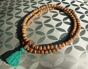 Very Beautiful Bodhibaum Mala Rosary with Coral + Turquoise from Nepal 28 5/16in