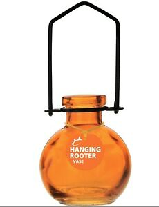 """Couronne Co. Hanging Glass Ball Rooter Vase 6x2.5"""" Small - Orange"""