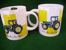 "2 Classic John Deere Gibson Coffee Mug Cup Tractors ""Nothing Runs Like A Deere"""