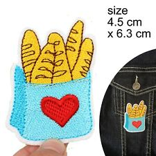 Baguette bag iron on patch love carbs bread french carbohydrates iron-on patches