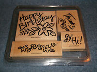1997 STAMPIN' UP 4 PIECE WOOD MOUNTED RUBBER INK STAMP SET - HAPPY BIRTHDAY ECT.