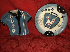 2 PCS CLAY ART BOWL-A-RAMA SERVING PIECES....APPETIZER PLATE AND SERVING BOWL...