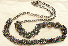 ACCESSORIZE GUNMETAL NECKLACE – TWISTED DESIGN WITH BEAUTIFUL RAINBOW BEADS_NEW