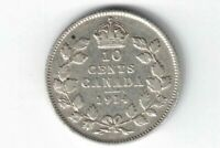 CANADA 1914 TEN CENTS DIME KING GEORGE V STERLING SILVER COIN CANADIAN