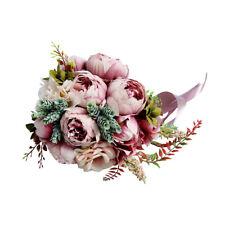 Wedding Bride Hand Bouquet Fake Peony Bridal Bridesmaid Hand Flower Pink