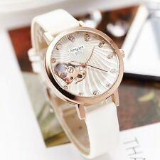 Faux Leather Rose Gold Rhinestone Stylish Heart Women's Quartz Dress Watches