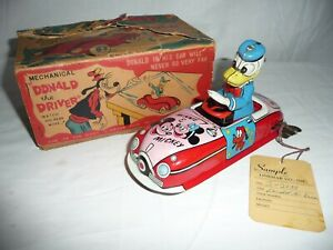 1950s LINEMAR DONALD DUCK THE DRIVER WALT DISNEY PRODUCTIONS C/WK  TIN CAR BOXED