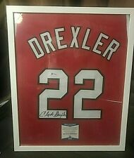 Clyde Drexler Signed Custom Portland Trailblazer Jersey #22 (BAS Witnessed)