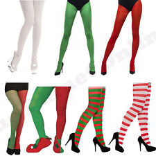 LADIES WOMENS CHRISTMAS XMAS TIGHTS ELF SANTA FANCY DRESS COSTUME STRIPE