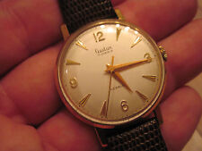 Vintage 9k solid yellow gold Audax 17 jewel with incabloc on new lizard leather