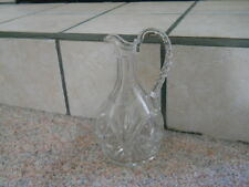VINTAGE Large Thick Cut Starburst Glass Handled Jug Pitcher Carafe Decanter