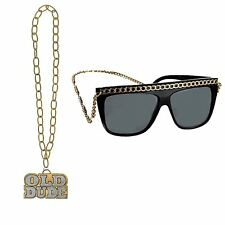 Adults Hip Hop Rapper Gangster Dude Chain Necklace & Glasses Accessory