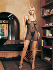 BLACK LACE MINI DAISY SHEER MESH MINI DRESS G-STRING BABYDOLL LEG AVENUE GLAMOUR