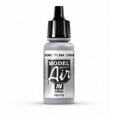 Vallejo Model Air: Chrome (Metallic)- Acrylic Paint Bottle 17ml VAL71.064