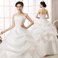 New White Lace Organza A-Line Wedding Dresses Bridal Ball Gown Long Dress