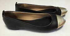 J.Crew Abby Ballet Flats Women's 6M Black Gold Leather Cap-Toe Slip Ons Shoes