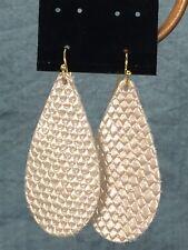 Leather Teardrop Earrings Gold Tone Earwires Gray Metallic Silver Fish Scale NEW