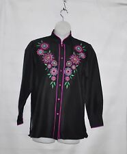 Bob Mackie Floral Embroidered Silk Blouse Size S Black