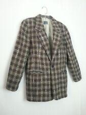 VTG 80s Liz Wear Blazer Suit Jacket Coat Brown Gray Cream Plaid Tweed Classy 8