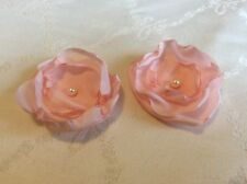 2 LIGHT PEACH SATIN FABRIC FLOWERS -  5.5 cm embellishments - wedding flowers