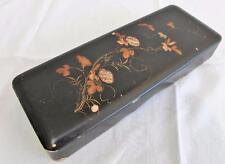 Antique Japanese Black Lacquered, MOP & Gilt Glove Box - Flowers - c1900