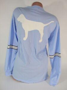 Victoria's Secret PINK T Shirt Baby Blue Long Sleeve Top Dog Women's X Small Nwt