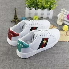 Womens Luxury Lace Up Embroidery Bee Flat Heels Running White Trainers Shoes