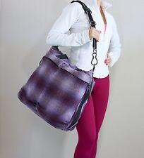 EUC Lululemon Fast In Flight Tote Bag Wool Purple Plaid/White Plaid