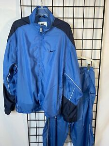 Vintage NIKE Tracksuit Men's L Large Lined Windbreaker & Athletic Pants Set Blue