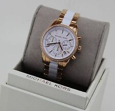 NEW AUTHENTIC MICHAEL KORS RITZ ROSE GOLD WHITE CRYSTALS WOMEN'S MK6324 WATCH