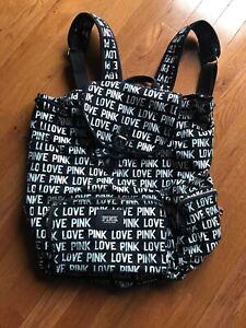 Victorias Secret PINK LOGO Print Campus Bookbag Backpack BLACK Canvas